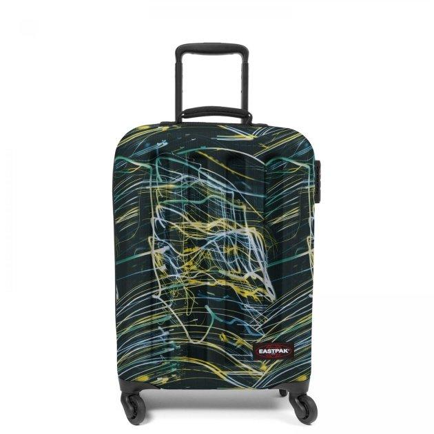 Пластиковый чемодан на колесах с принтом