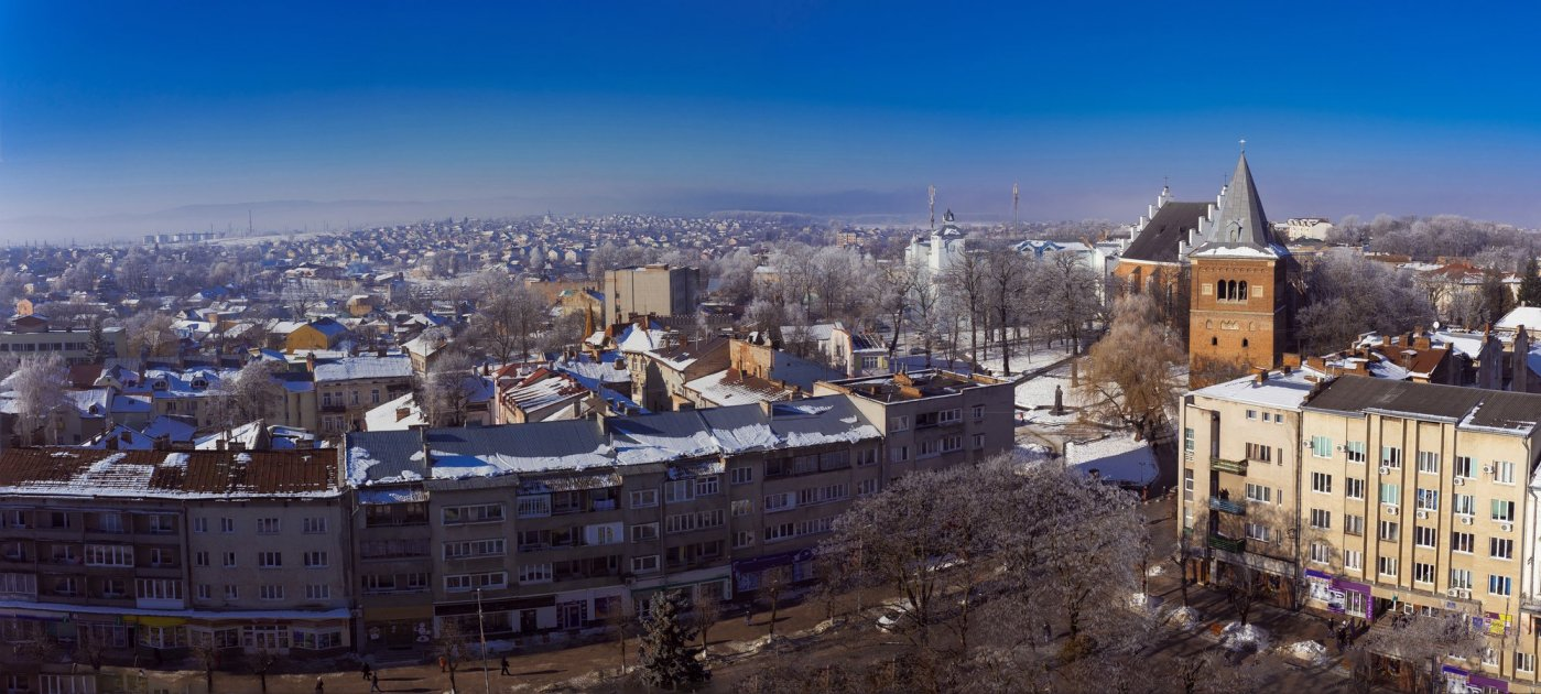 Панорамный вид на Дрогобыч зимой