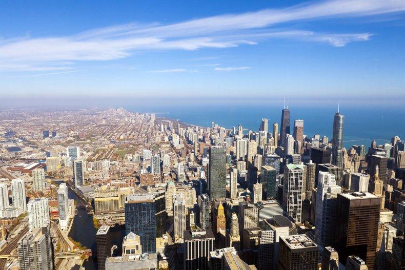 Вид с воздуха горизонта Чикаго
