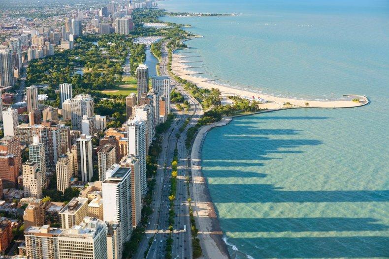 Вид из Хэнкок Центр в Чикаго
