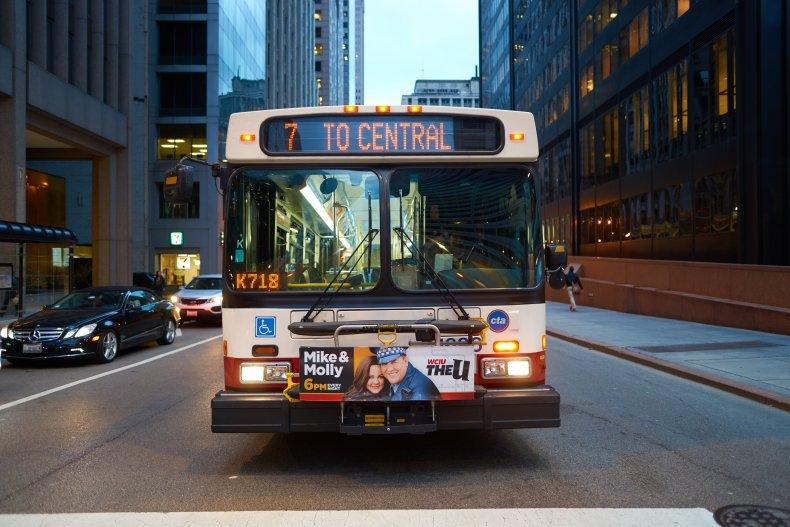 Современный автобус в Чикаго