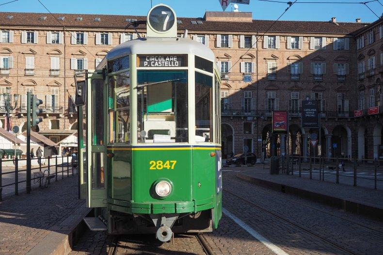 Старинный трамвай в Турине
